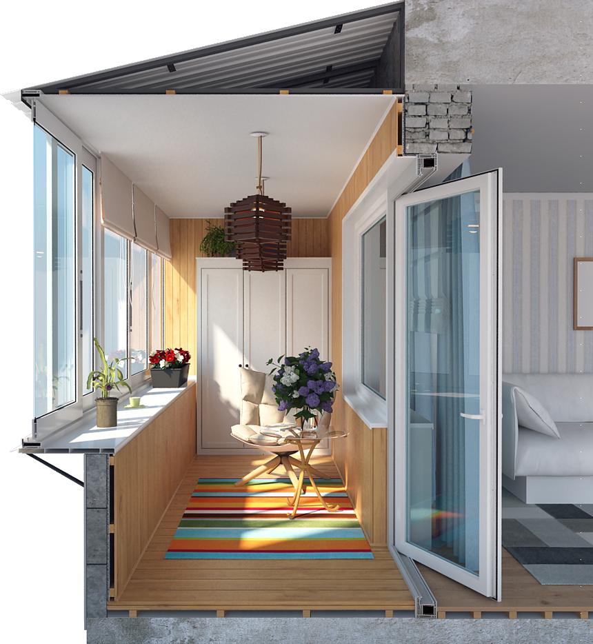 Пример готового напольного покрытия для балкона в разрезе