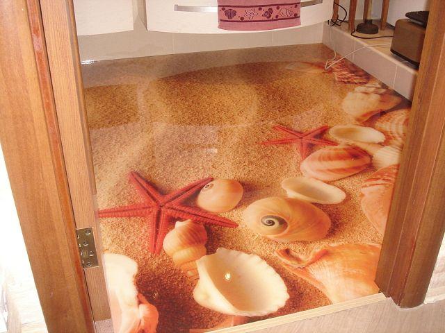 Использование технологии 3D полы в ванной комнате